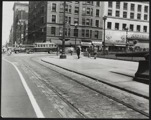 Looking east down Superior Avenue from monument sector of Public Square, July 1950.